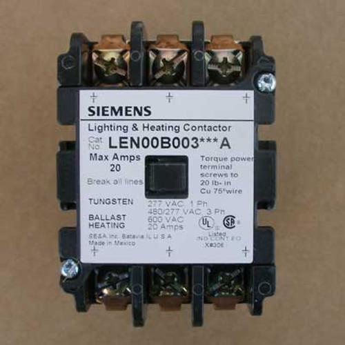 Siemens LEN00B003480A 20 Amp 480V 3 Pole Lighting Contactor Open