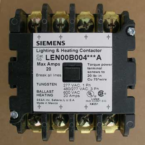 Siemens LEN00B004240A 20 Amp 4 Pole 240V Lighting Contactor Open