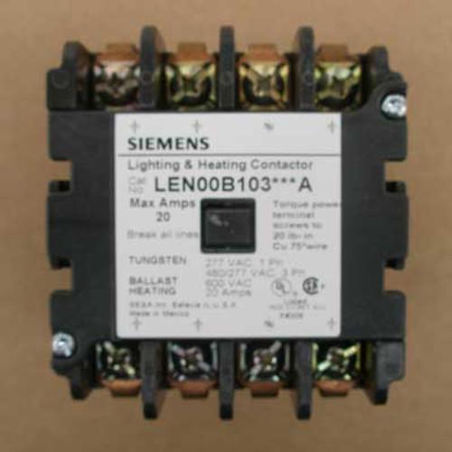 Siemens LEN00B103480A 20 Amp 480V 4 Pole Lighting Contactor Open