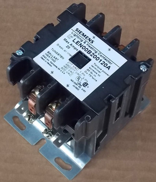 Siemens LEN00B200120A 20A 2 Pole Lighting Contactor 120V Open - New