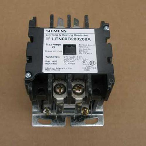 Siemens LEN00B200208A 20 Amp 2 Pole Lighting Contactor 208V Open