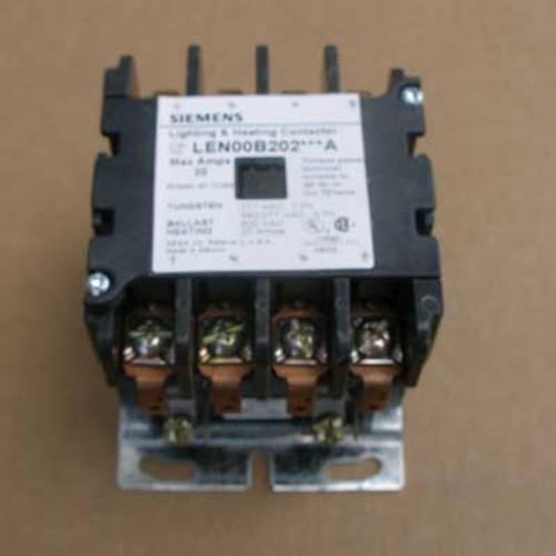 Siemens LEN00B202208A 20 Amp 4 Pole Lighting Contactor 208V Open