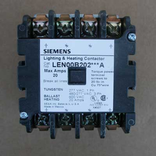 Siemens LEN00B202240A 20 Amp 4 Pole Lighting Contactor 240V Open