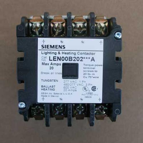 Siemens LEN00B202480A 20 Amp 4 Pole Lighting Contactor 480V Open