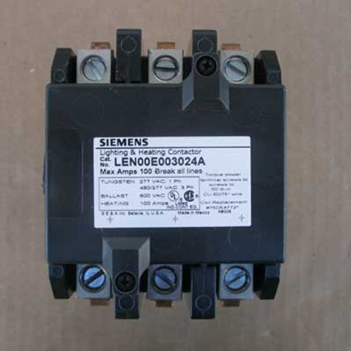 Siemens LEN00E003024A 100 Amp 3 Pole Lighting Contactor 24V Open - New