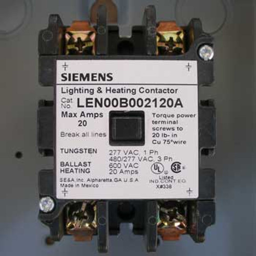 Siemens LEN01B002120A 20 Amp 2 Pole Lighting Contactor NEMA 1 - New