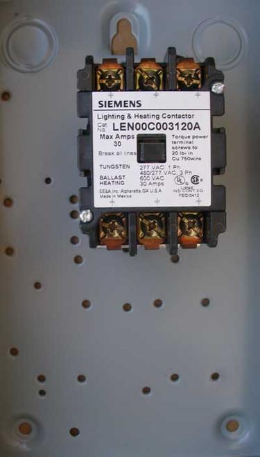 Siemens LEN01C003120A 30 Amp 3 Pole Lighting Contactor NEMA 1 - New