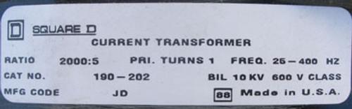 Square D 190-202 JD 2000:5 25-400HZ Current Transformer