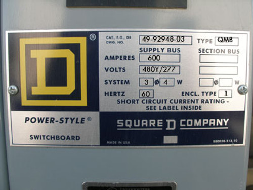 Square D 600A 480Y/277 3 Phase QMB Switchboard - Used
