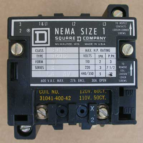 Square D 8502-SC02 Size 1 Contactor 1 Phase 600V 30A 5HP 120V Coil