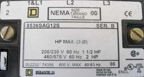 Square D 8536-SAG12S Size 00 Magnetic Starter 3 Phase 120V Coil Open