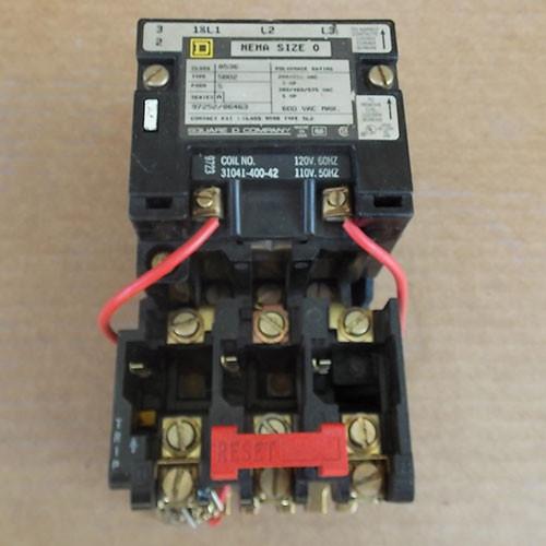 Square D 8536-SB02 Size 0 Magnetic Starter 3 Pole 120 Volt Coil - Used