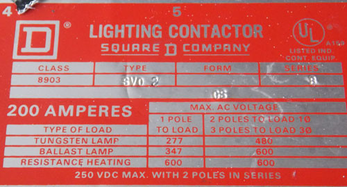 Square D 8903 SV02 Lighting Contactor 200 Amp 3 Pole 120V Coil - Used
