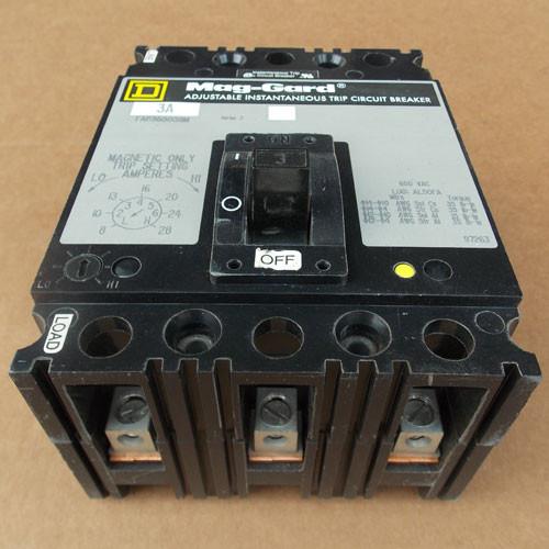 Square D FAP360031M 3 Pole 3 Amp 600V Mag-Gard Circuit Breaker - Used