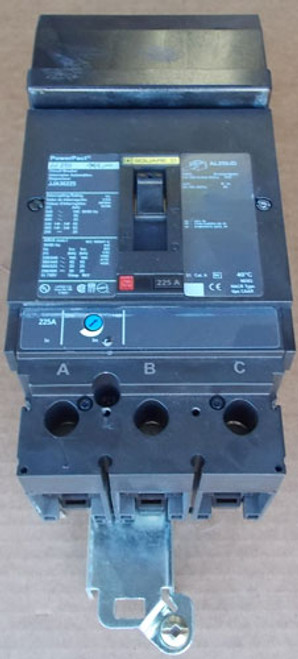 Square D JJA36225 3 Pole, 225 Amp, 600 VAC, Circuit Breaker - Used