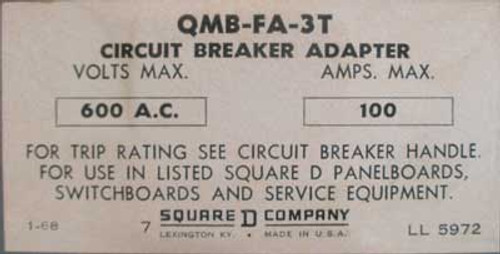 Square D QMB-FA-3T 100A 600V Circuit Breaker Adaptor-50 & 30A Breakers - Used