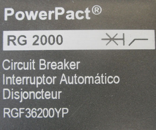 Square D RG 2000 RGF36200YP 2000A 600V 3P Circuit Breaker - Used