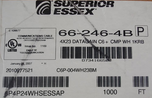Superior Essex 66-246-4B 1000ft 4Pr 23AWG C6 CMP 1KRB Data Cable in White - New