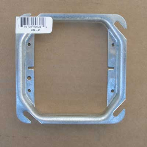 "T&B 404-C Galvanized Steel Ring 4"" Square, 5/8"" Raised 2G, Box of 25 - New"