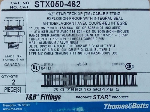 "T&B STX050-462 1/2"" Star Teck XP Explosion-Proof Cable Fitting, 2 Per Box - New"