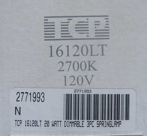 TCP 16120LT 20 Watt Dimmable Springlamp 120V 2700K - New
