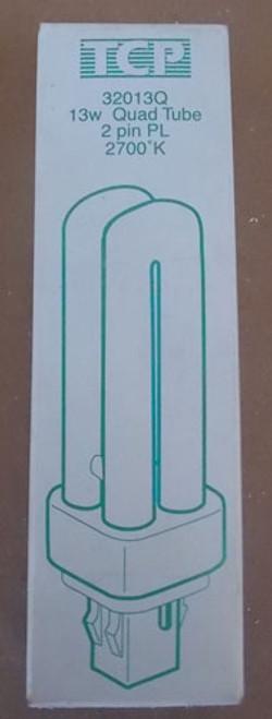TCP 32013Q 13W 120V 2 Pin Quad PL Tube Fluorescent Lamp 2700K, Lot of 2 - New