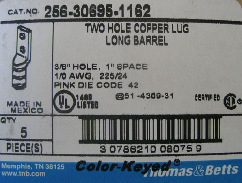 Thomas & Betts 256-30695-1162 2 Hole Long Barrel Copper Lug, Lot of 5 - New