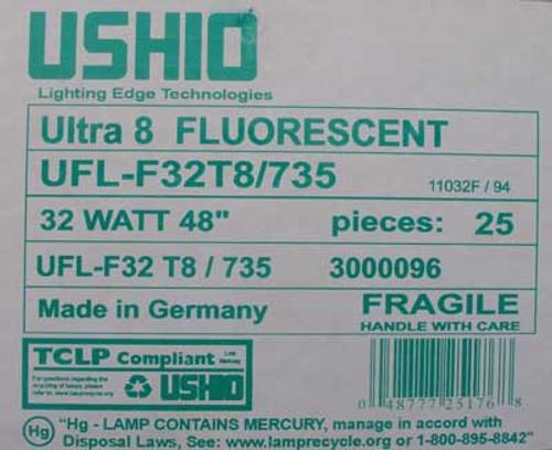 """Ushio UFL-F32T8/735 Ultra 8  48"""", 32 Watt  Fluorescent Lamp- 25/Box - New"""