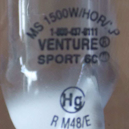 Venture MS 1500W/HOR/XP/Sport 60 1500 Watt Metal Halide Lamp - New