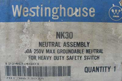 Westinghouse NK30 30A 250V Groundable Neutral Assembly - New