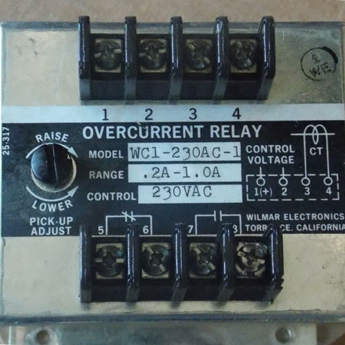 Wilmar WC1-230AC-1 Overcurrent Relay 230 VAC - Used