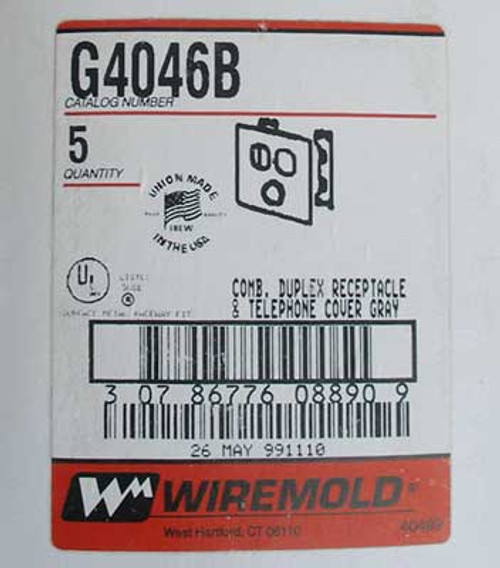 Wiremold G4046B Combo Duplex Receptacle & Telephone Cover-Gray, (2) - NEW