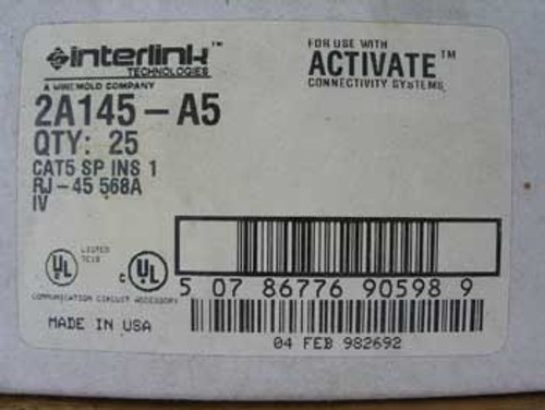 Wiremold Interlink 2A145-A5 Ivory Modular Jack  (Sold in Lot of 2)