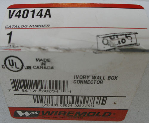 Wiremold V4014A Ivory Wall Box Connector - NEW