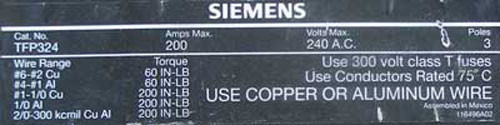 Siemens TFP324 3 Pole 200 Amp 240V Fusible Pullout - Head Only - Used