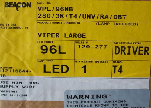 Beacon VPL/96NB 280W LED Light Viper Large 120/277 Volts Dk Bronze - New