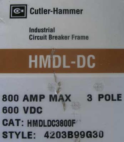 Cutler Hammer HMDLDC3800F 3 Pole 800 Amp 600VDC Circuit Breaker - Used