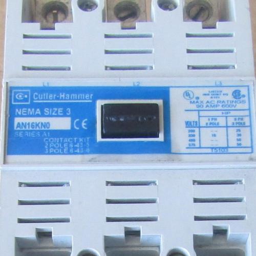 Cutler Hammer AN16KN0 Size 3 Starter 90 Amp 600V 208V Coil - Used