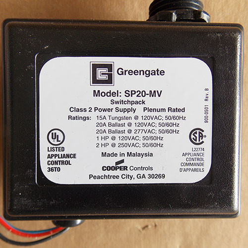 Cooper Greengate SP20-MV Switchpack Power Supply 120/277V 20 Amp - New