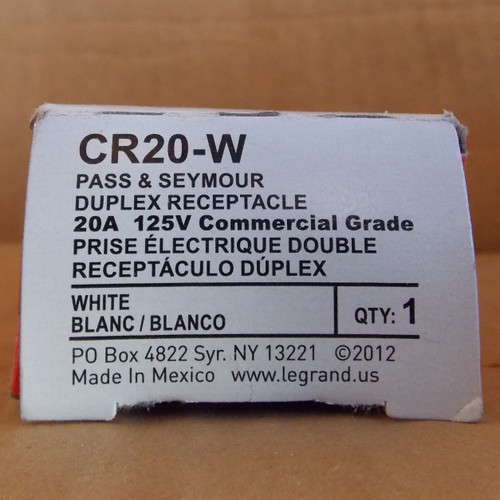 Pass & Seymour CR20-W Duplex Receptacle  20A 125V  Commercial Grade White - New