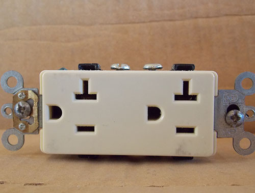 Leviton 16342-I Self Grounding Duplex Receptacle 20A 125V Nema 5-20R Ivory - New