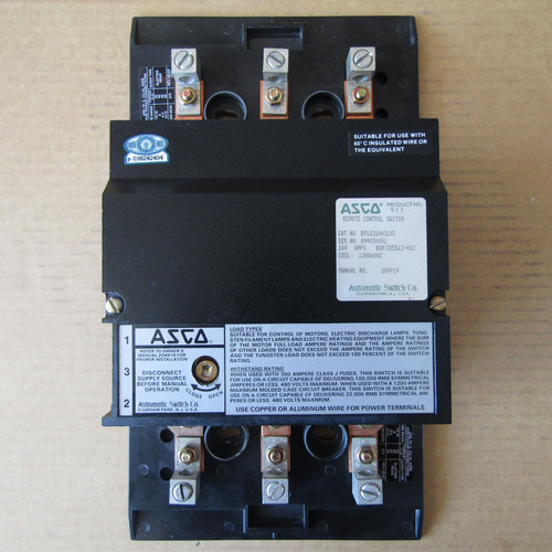 ASCO 911 Remote Control Switch 100 Amps 120V Coil 60Hz - Used