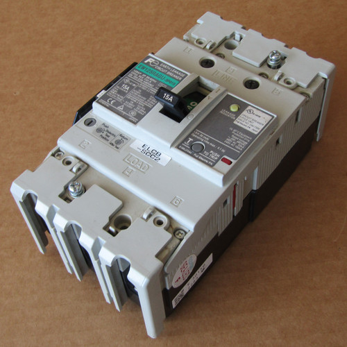 Fuji EW125RAGU-3P015 3 Pole 15 Amp Earth Leakage Circuit Breaker - Used