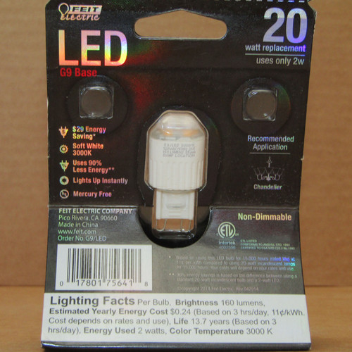 2Pc Feit Electric G9/LED 120V Non-Dimmable 20W Soft White Bulb - New