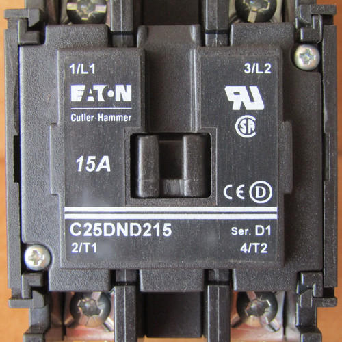 Cutler Hammer C25DND215A Definite Purpose Contactor 2P 15A 110-120V Coil - New
