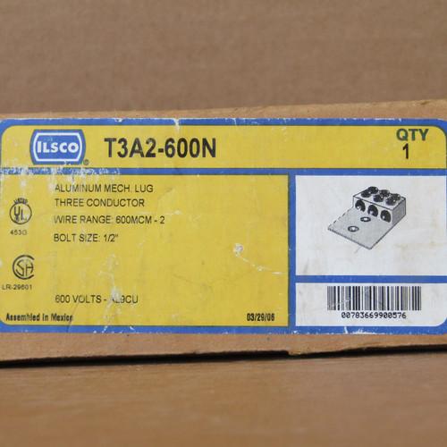Ilsco T3A2-600N Aluminum Mech Lug, 3 Conductor, 600V AL9CU - New