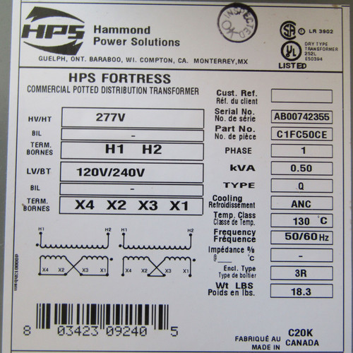 Hammond C1FC50CE 0.50 KVA 1PH 277V to120/240V HPS Fortress Potted Transformer N3R - New