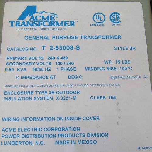 ACME T-2-53008-S 0.50 KVA 240x480 to 120/240 V 1PH General Purpose Transformer N3R - New
