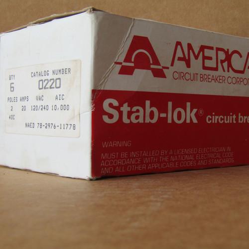 American 0220 2 Pole 20 Amp 120/240VAC 10K Circuit Breaker - New