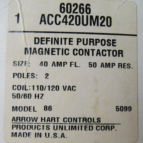 Arrow Hart ACC420UM20 Magnetic Contactor 40A 2P 120V Coil - New